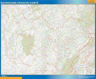 Carte Région Bourgogne Franche Comte affiche murale