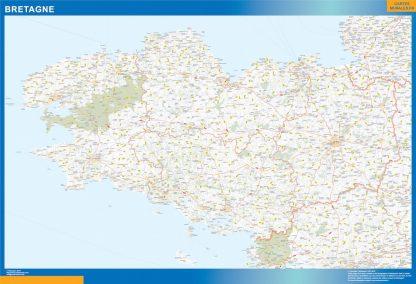 Carte Région Bretagne affiche murale