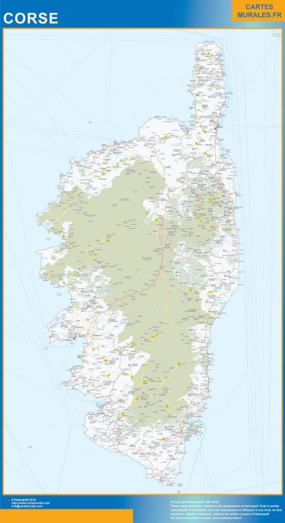 Carte Région Corse affiche murale