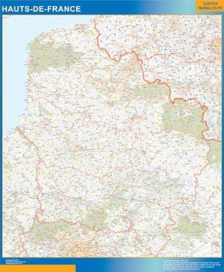 Carte Région Hauts de France affiche murale