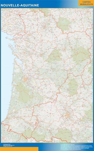 Carte Région Nouvelle Aquitaine affiche murale