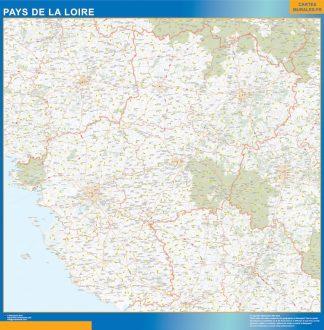Carte Région Pays de la Loire affiche murale