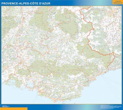 Carte Région Provence-alpes cote azur affiche murale