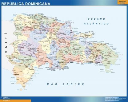 Carte Republique Dominicaine affiche murale