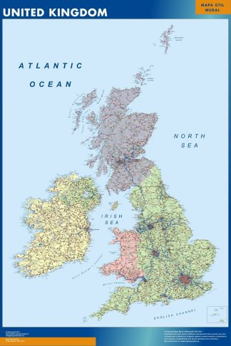 Carte Royaume Uni affiche murale