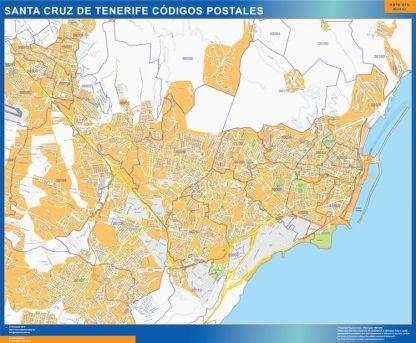 Carte Santa Cruz de Tenerife codes postaux affiche murale