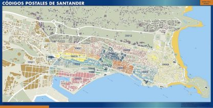 Carte Santander codes postaux affiche murale