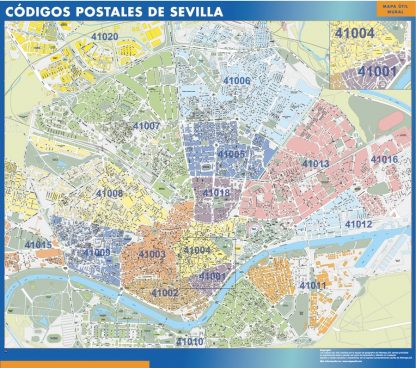 Carte Sevilla codes postaux affiche murale