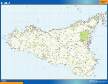Carte Sicilia affiche murale