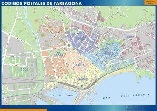 Carte Tarragona codes postaux affiche murale