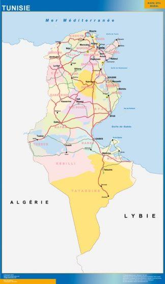 Carte Tunisie affiche murale