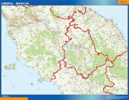 Carte Umbria Marche affiche murale