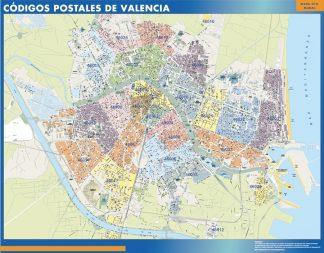 Carte Valencia codes postaux affiche murale