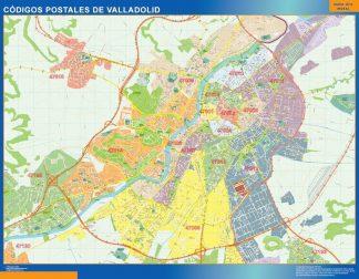 Carte Valladolid codes postaux affiche murale