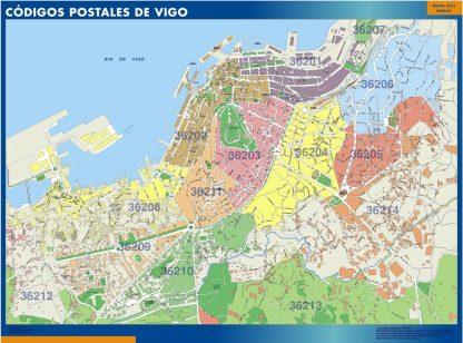 Carte Vigo codes postaux affiche murale
