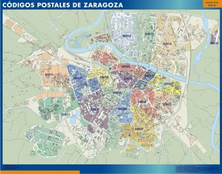 Carte Zaragoza codes postaux affiche murale