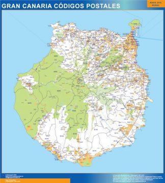 Carte isla Gran Canaria codes postaux affiche murale