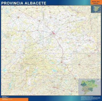 Carte province Albacete affiche murale