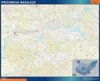 Carte province Badajoz affiche murale
