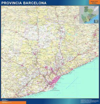Carte province Barcelona affiche murale