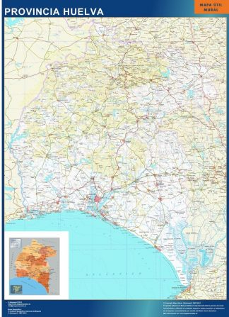 Carte province Huelva affiche murale