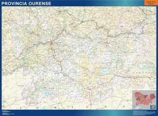Carte province Ourense affiche murale