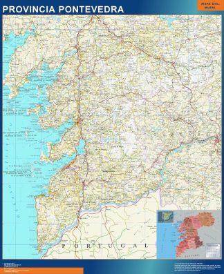 Carte province Pontevedra affiche murale