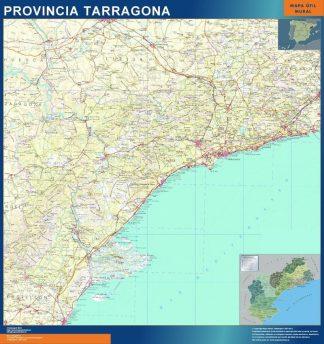Carte province Tarragona affiche murale