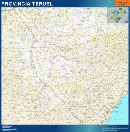 Carte province Teruel affiche murale