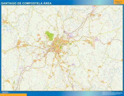Carte routière Santiago Compostela région affiche murale
