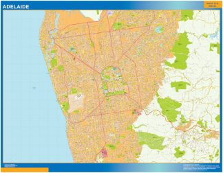 Mapa Adelaide Australie affiche murale