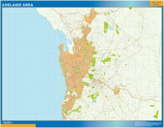 Mapa Adelaide zone Australie affiche murale