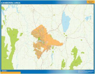 Mapa Canberra zone Australie affiche murale