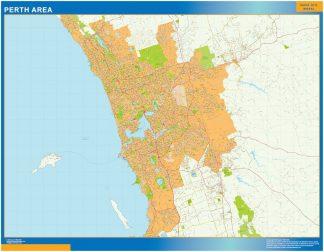 Mapa Perth zone Australie affiche murale