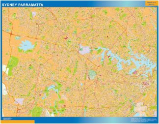 Mapa Sydney Parramatta Australie affiche murale
