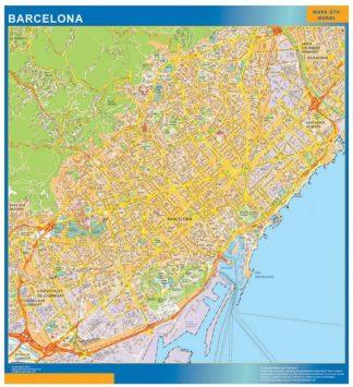 Plan des rues Barcelona affiche murale