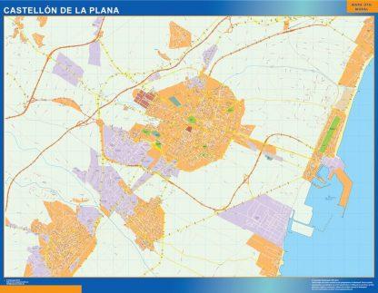 Plan des rues Castellon de la Plana affiche murale
