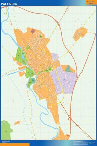 Plan des rues Palencia affiche murale