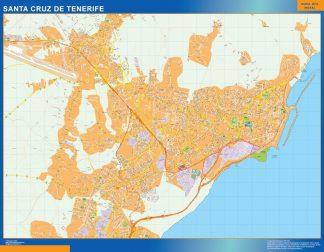 Plan des rues Santa Cruz Tenerife affiche murale
