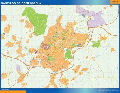 Plan des rues Santiago De Compostela affiche murale