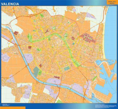 Plan des rues Valencia affiche murale